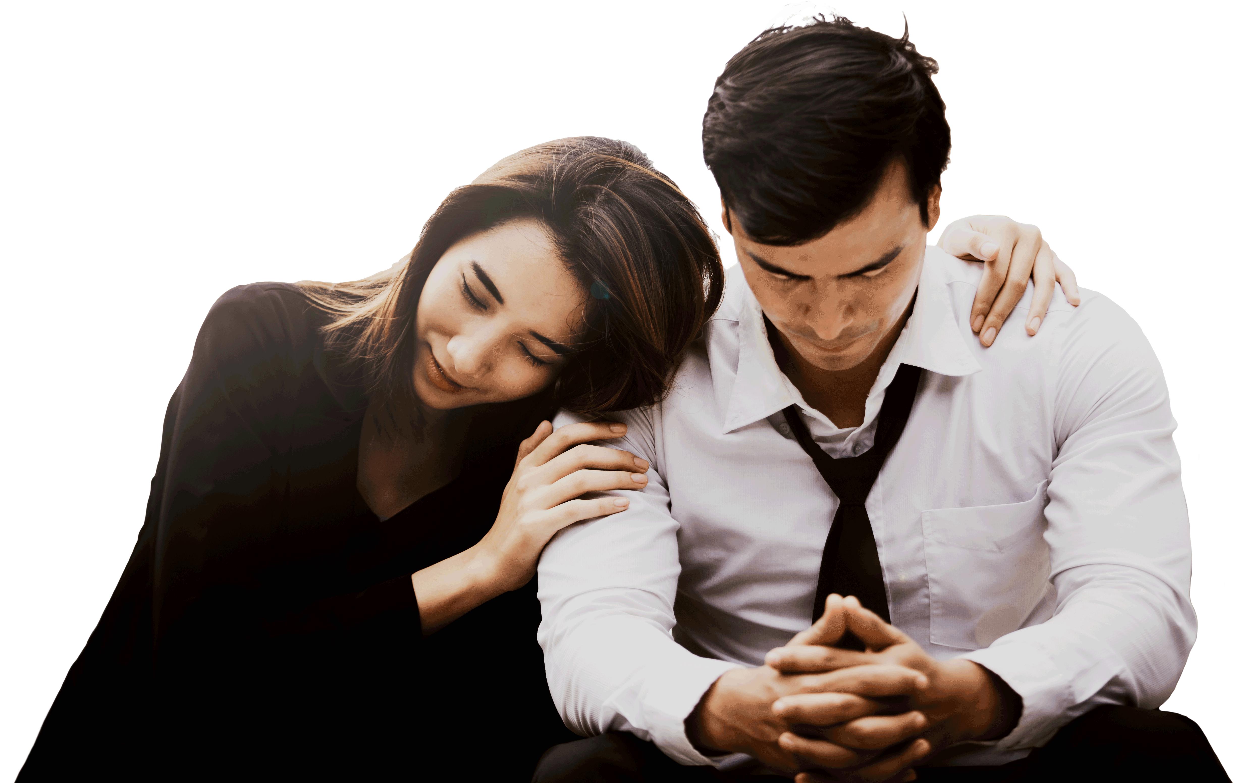 Frau tröstet den Mann - Weg zu dir | Nicole Gollan - bunt und einzigartig